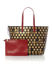 Love Moschino Polka dot gold large tote bag