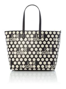 Love Moschino Polka dot white large tote bag