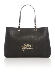 Love Moschino Love stitching black large tote
