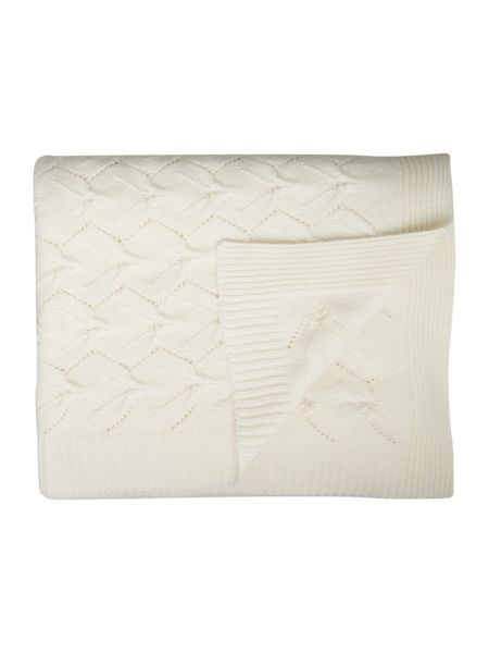 Shabby Chic Ivory knitted wool rich throw