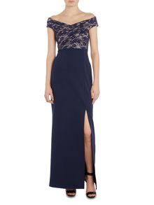 Jessica Wright Off Shoulder Lace Top Maxi Dress