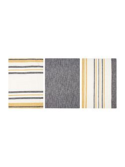Yellow stripe set of 3 tea towels