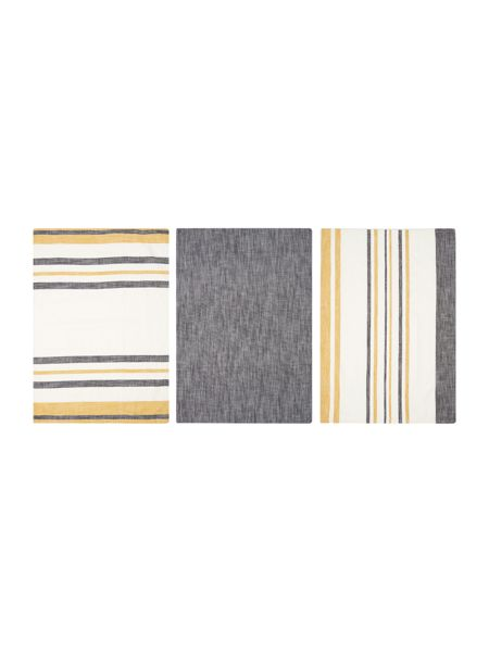 Gray & Willow Yellow stripe set of 3 tea towels