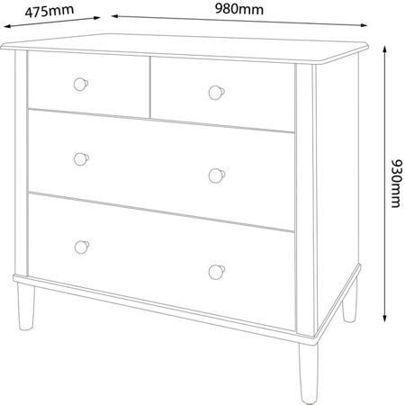 Linea Felix 2+2 Drawer Chest
