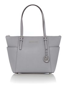 Michael Kors Jetset Item grey zip top tote bag