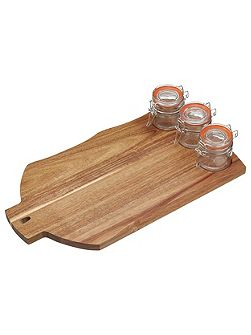 Artesa Wooden Board with 3 Jars