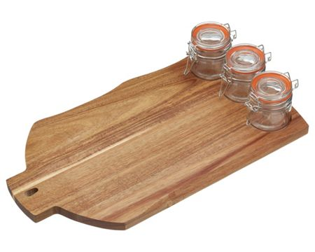 Masterclass Artesa Wooden Board with 3 Jars