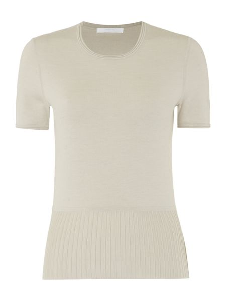 Hugo Boss Faly Wool Mix Short Sleeve Peplum Top