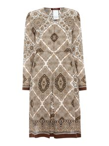 Max Mara Crasso long sleeve silk pasiley print shift dress