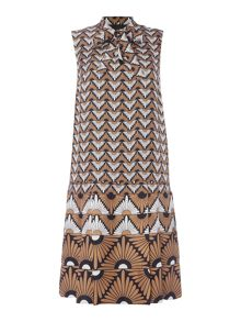 Max Mara Olbia sleeveless geometric print silk dress
