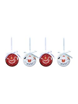 Set of 4 Frosty Baubles
