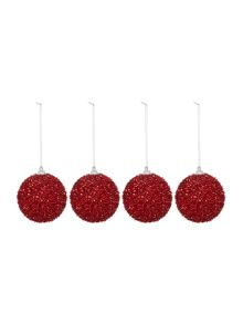 Linea Set of 4 red pom pom baubles