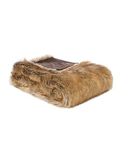 Chestnut brown faux fur throw