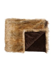 Linea Chestnut brown faux fur throw