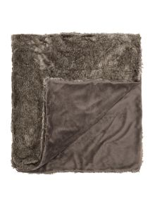 Linea Dark grey faux fur throw