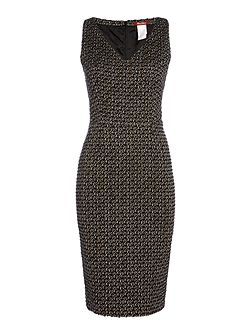 Eritea sleeveless boucle v neck dress