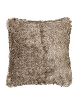 Dark grey faux fur cushion