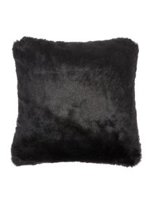Linea Luxe faux fur cushion, black