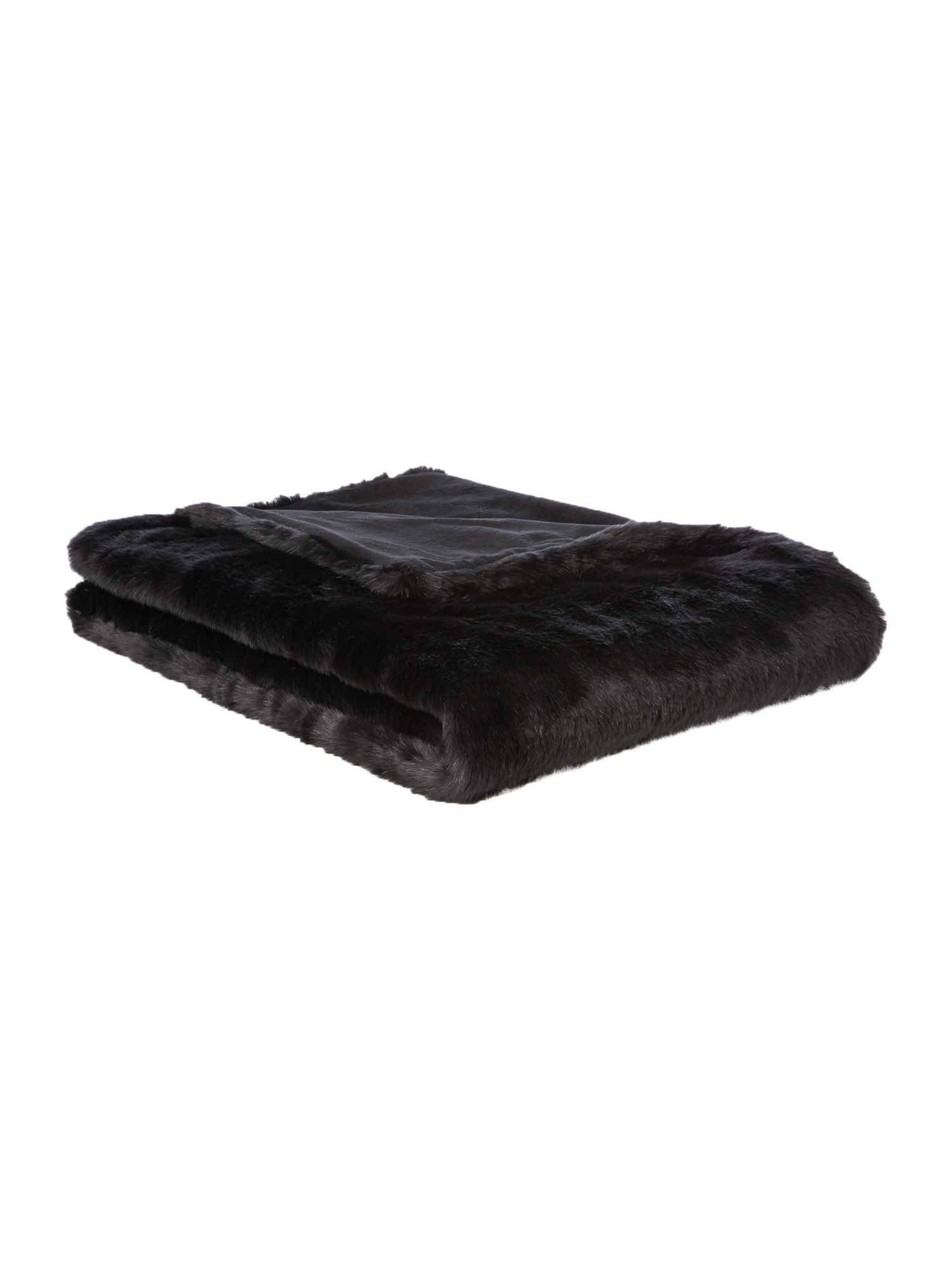 Linea Luxe faux fur throw black