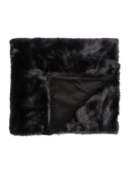 Linea Luxe faux fur throw, black