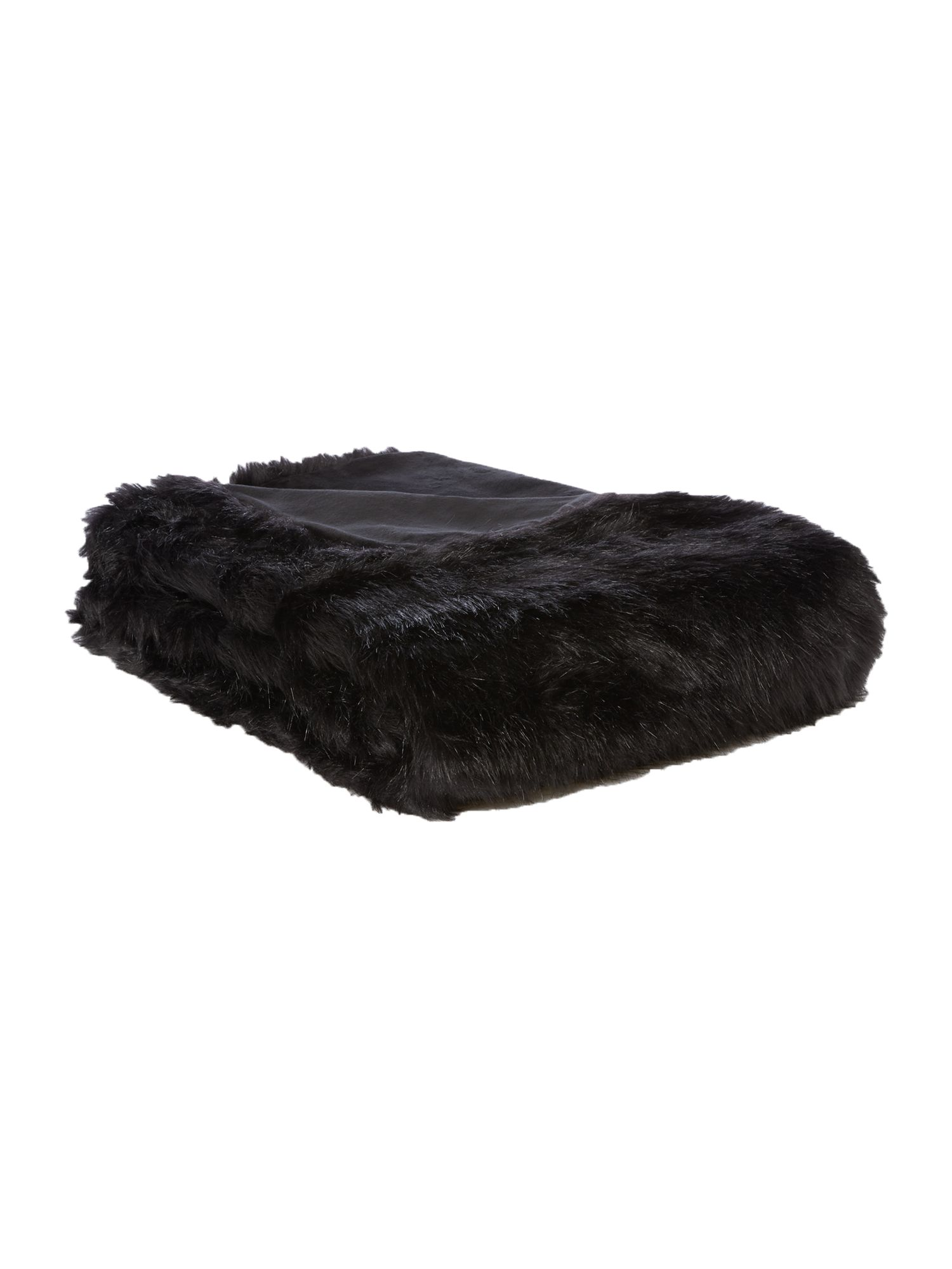 Biba Long black faux fur throw