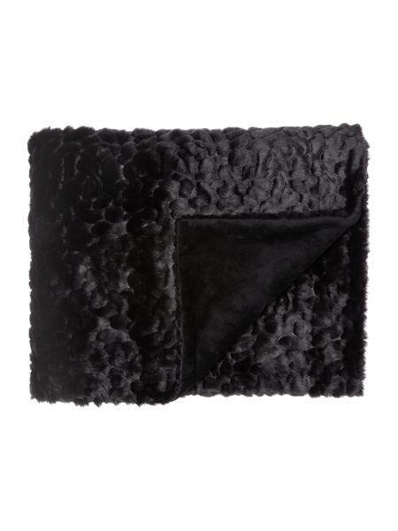 Biba Black textured faux fur throw