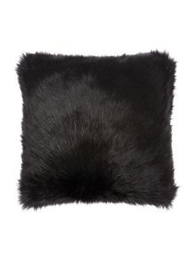 Biba Long black faux fur cushion
