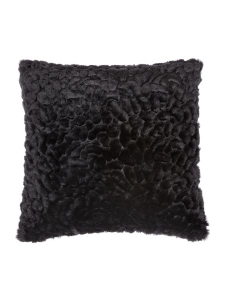 Biba Black textured faux fur cushion
