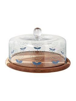 Acacia cake stand with dome