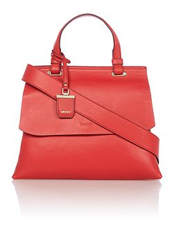 Lexington red flapover tote cross body bag