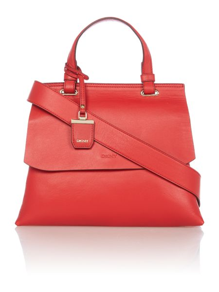 DKNY Lexington red flapover tote cross body bag