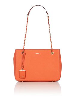 Saffiano orange chain tote bag