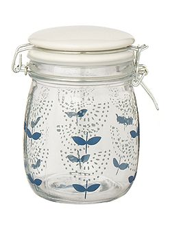 Small printed glass jar