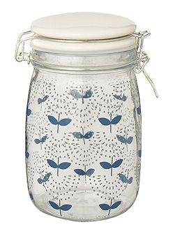 Medium printed glass jar