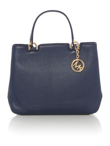 Michael Kors Anabelle navy medium top zip tote bag