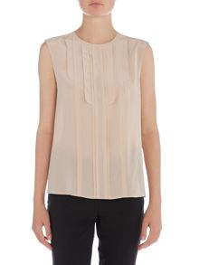 Max Mara Veloce sleeveless bow tie silk shirt
