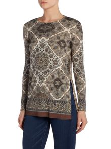 Max Mara Giustio paisley print silk wool mix top