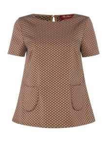 Max Mara Carmen geometric print top with pockets