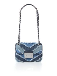 Michael Kors Sloan blue small flap over chain shoulder bag