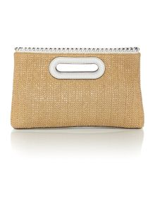 Michael Kors Rosalie straw large clutch bag