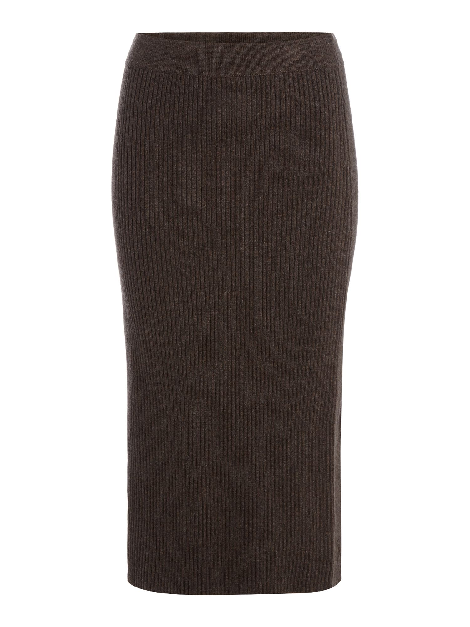 Linea Limited Knitted Rib Skirt, Chocolate