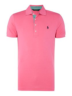 Slim Fit Gingham Contrast Pique Polo
