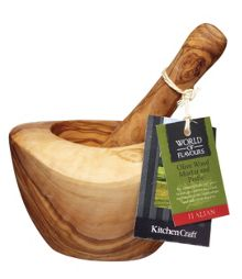 Kitchen Craft World Foods Olive Wood Pestle & Mortar
