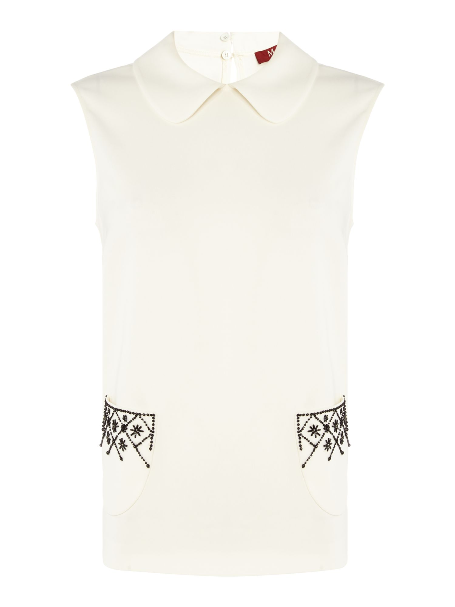Max Mara Studio Pattino embellished pocket shirt, White