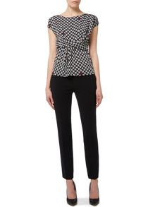 Max Mara Albert cap sleeve printed jersey top