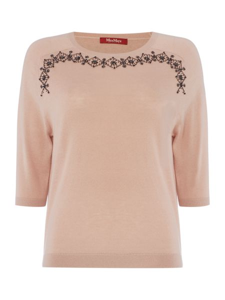 Max Mara Ancora 3/4 sleeve silk jumper with embellishment