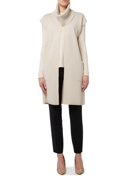 Max Mara Bleu sleevless silk cardigan with collar