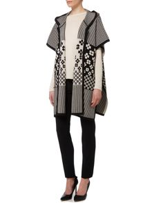 Max Mara Ebbri printed wool poncho with hood