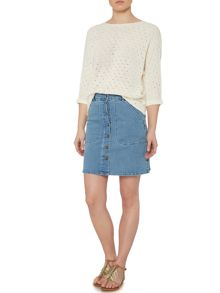 Vila Button Front Denim A Line Skirt