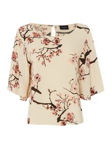 Vila 3/4 Sleeve Print Top